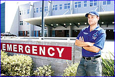 ANGRY: Former employee Trevor Ellis outside the Nambour Hospital emergency department. Photo: Anthony Reginato