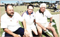 FRIENDS: Andrew Cottams mates Keith Seib, John Dowling and Arthur Moyniham find it hard to believe he is dead.
