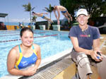 Hayley White, front, with coach Lea Speechley while Cameron Peters and Matthew Abood take a dive in the background