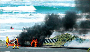 The silver Statesman was engulfed by flames after the collision at Skennars Head yesterday.