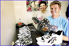 SOUL BROTHERS: Queensland Bulls paceman Ashley Noffke and Joe Dawes have started a business making boot spikes.
