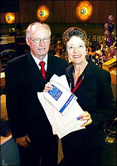 EXPO SUCCESS: Robina Chamber of Commerce president Wayne Atkinson and councillor Jan Grew at the Expo.