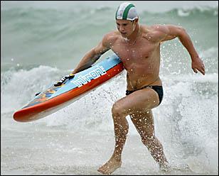 LEE Stevenson winds up for Cudgen while Palm Beach?s Gareth Richardson backs up