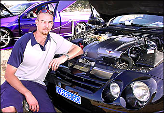 STREET POWER: Andrew Webb, of Lismore, with his AU 2XR-8 Ford ute at the Casino Show on Saturday.Pictures: DOUG EATON