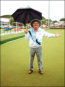 RAIN DANCE: Ballina Bowling Club acting publicity officer John Lowry hopes the rain will stop so play will go ahead today.