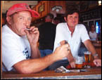 Smoker Kevin Tomkinson with non-smoker Peter Lofts at the Great Northern. A beer and a smoke go together says Kevin
