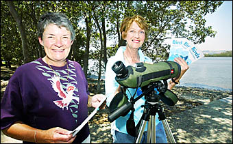 GIVING people a birds-eye-view of waders around the Tweed Shire are Tweed Bird Observers Laurel Allsopp and Marion Williams.