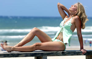 WINNING DESIGN: A model shows off a swimsuit in the new swimwear range by award-winning designer Gillian Marriage.