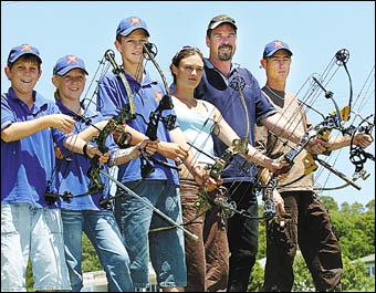 Coffs Harbour archers, from left, Callum Macfarlane, Abby March, Jacob March, Samari White, Shaun March and Dustyn Oloman.