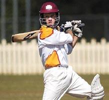 Scorchers batsman Aaron Maynard square cuts to the boundary.