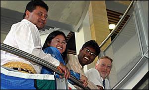 Vili Naupoto from Tonga, Shakira Hamzah from Malaysia and Dominic Vedhaumanickam from India with Prof Paul Clark.