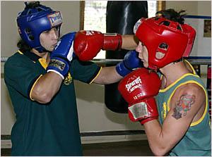 Sparring practice at Stu Stone Boxing Hall in Murwillumbah were Luke Smith, (65kg Div.) and Virgil Nobbs, (51kg Div.)