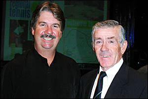 Tennis legend Ken Rosewall (right) with Rob Nienhuis at a fundraising function at Tweed Heads Bowls Club on Friday night