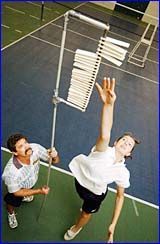 Gladstone State High School student Rhiannon Tooker impresses during the Volleyball School