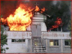 St John's School, Roma on fire. Picture: NADIA CAVALLARO