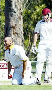 TERRANORA?S Dave Parkes celebrates after dismissing the dangerous Peter Bruhn