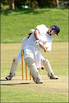 Brothers paceman Dave Lewis sends one down against BITS.