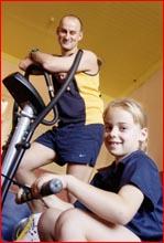 Glenn Azar and daughter Alyssa, 7, are training to walk the Kokoda Trail. Picture: NEVILLE MADSEN