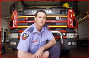 Toowoomba?s newest firefighting recruit, Mark Crighton, from Pittsworth. Picture: BEV LACEY