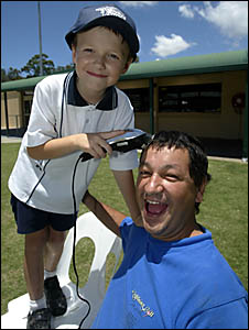 BANORA Point dad Stuart Curtain has organised a Shave for a Cure fundraiser to help out children like his son Aaron