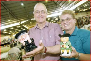 Ben and Anthea Burton with  Toby jugs. Picture: NEVILLE MADSEN