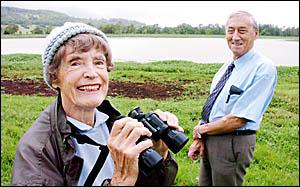 Molly Crawford and Lismore mayor Merv King at the Lismore Lake.