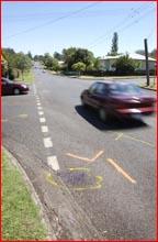 Markings show  where a pedestrian was hit. Picture SCOTT FLETCHER