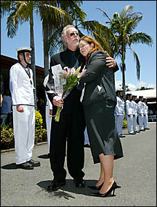 Sue Robbins? husband Ken and daughter Bree say their sad farewells after Sue?s emotional funeral service last week.