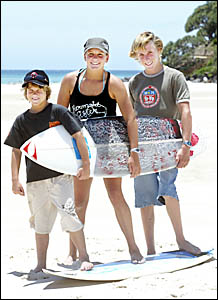 GEARING up for the Micro Grom surfing competition are (from left) Will Morrison, Courtney Bell and Lance Pirie