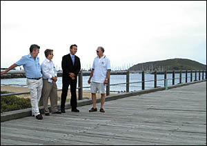 Chris Bastic with Ian Hogbin, David Burt and Gary Lenard at the Jetty Foreshores, venue for the triathlon.