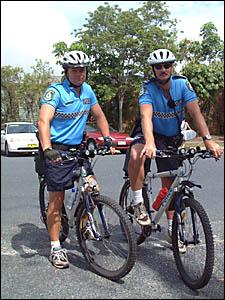 Senior constables Adam Lenehan and Mick Pearce on patrol