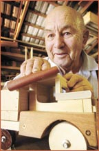 NED Jeffery spends his year making toys to give to charities for distribution to needy children. Picture: NEVILLE MADSEN