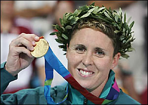 Petria Thomas with one of her Olympic gold medals. She has just been named the winner of the prestigious Don Award