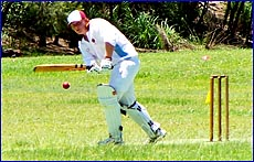 BITS batsman Shay Bosworth works one through the leg side during the under-16 state championships in Brisbane.