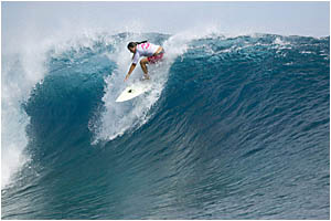 Byron Bay surfer Laurina McGrath pulls into a wave