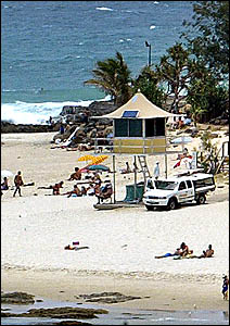 A lifeguard tower on the Gold Coast. The tower is similar to those proposed for the North Coast.