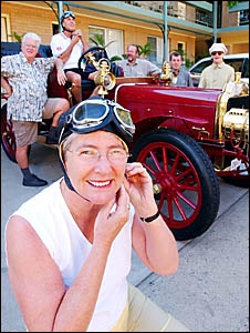 GOOD OLD TIMES: A 1906 Model K Ford with begoggled navigator Beth Trevan, of Lismore aboard.