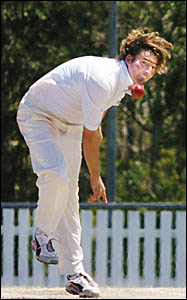 BENDING THE BACK:NSW Country opening bowler Duncan McIlveen sends one down against SA Country at Thompson Oval