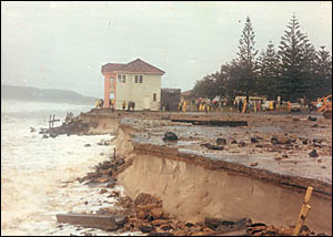 Cyclone Pam in 1974 caused massive beach erosion at Byron Bay.