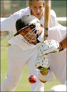 CRCA opening batsman Brett Woods shows his surprise.
