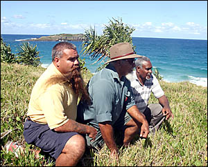 TWEED-Byron Local Aboriginal Land Council members Russell Logan, Des Williams and Clarence Phillips.