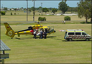 LIFE SAVER: The Northern Region Westpac Lifesaver Rescue Helicopter lands on sports fields at Maclean this week.