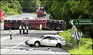 A man died in the Toyota Camry after a crash on the Pacific Highway at the Tintentbar Road junction yesterday morning.