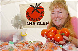 Stallholder of the month, Yvonne Bromley, turns her hand from growing Tradero tomatoes to selling her tasty ?love apples?.