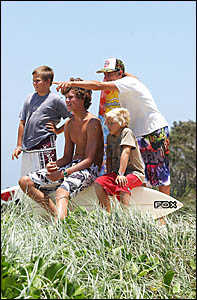 Yamba grommets Ryan Curtis, 10, Jackson Lucas, 15, Gunther Barwick, 11, and Mitchell Curtis, 15, check out the surf.