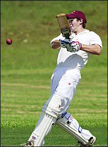Alstonville batsman Derek Partridge hits out against Souths at Hill Park Oval.,