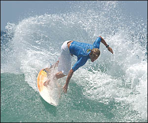 CUTBACK: Matt Jones in action during the Pippie Beach Surf Classic held at the weekend.