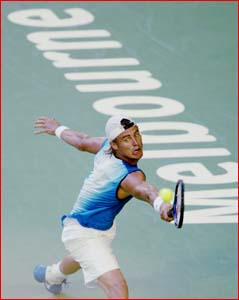 Lleyton Hewitt in action last night in the Australian Open. Picture: AP PHOTO