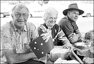 Ken Wedlock with friends Ruth and Rod Holmes enjoying the Australia Day celebrations.