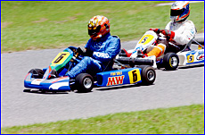 V8 Supercar drivers Steve Ellery (left) and Will Davison test each other out during Saturday?s V8 Kart Showdown